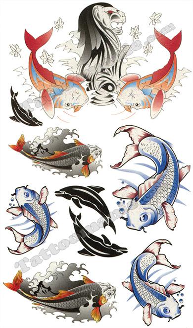 Tatouage temporaire 7 koi et dauphins sur for Prix koi japonais