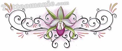 tatouage temporaire dos orchid e sur. Black Bedroom Furniture Sets. Home Design Ideas