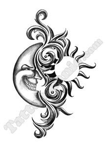 tatouage temporaire soleil lune metal sur. Black Bedroom Furniture Sets. Home Design Ideas